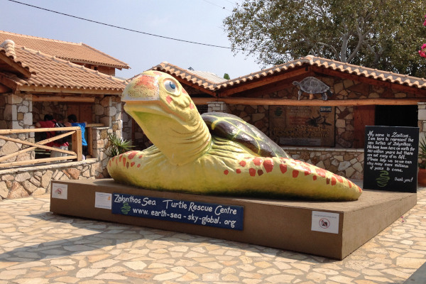 Giant sea turtle statue at the entrance of the Sea Turtle Rescue Center in the area of Gerakas on Zakynthos.